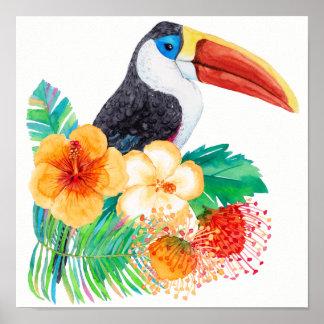 Tropical Toucan Watercolor Floral Poster