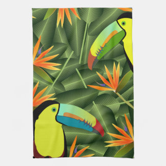Tropical Toucans & Birds of Paradise Kitchen Towel