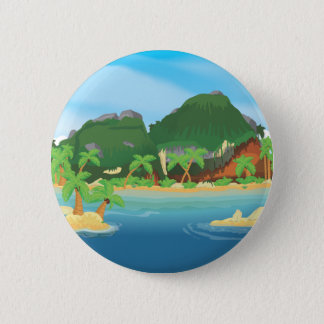 Tropical Treasure Island 2 Inch Round Button