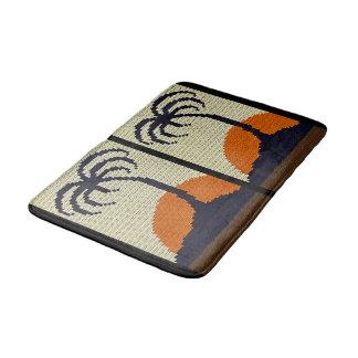 Tropical Trees Orange Sunset Texture Crochet Bathroom Mat