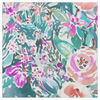 Tropical Trek Floral Watercolor Pattern Fabric