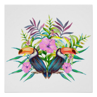 Tropical tucan birds and pink flowers poster