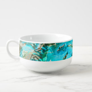 Tropical Turquoise Ocean Blue & Seaweed Green Soup Bowl With Handle