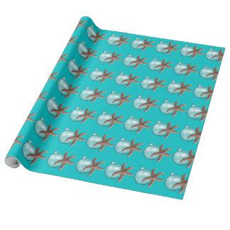 Tropical Turquoise Starfish Christmas Gift Wrap