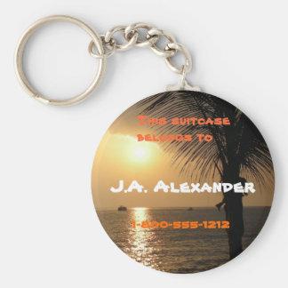 Tropical Twilight Sunset Basic Round Button Keychain