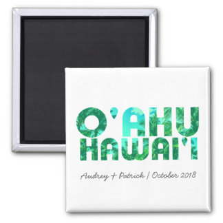 Tropical Typography Oahu Hawaii // Personalize Magnet