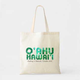 Tropical Typography Oahu Hawaii // Personalize Tote Bag