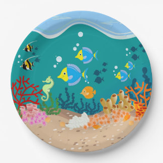 Tropical undersea scene birthday party 9 inch paper plate