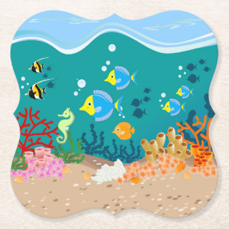 Tropical undersea scene birthday party paper coaster