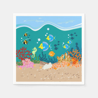 Tropical undersea scene birthday party paper napkin