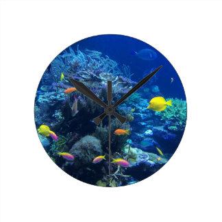 Tropical underwater fish round clock