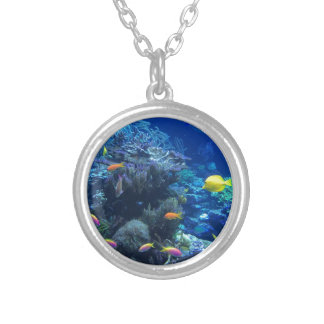 Tropical underwater fish silver plated necklace