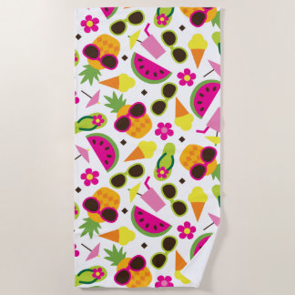 Tropical Vacation Seamless Pattern Beach Towel