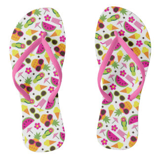 Tropical Vacation Seamless Pattern Flip Flops