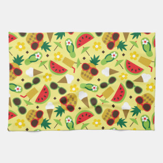 Tropical Vacation Seamless Pattern Kitchen Towel