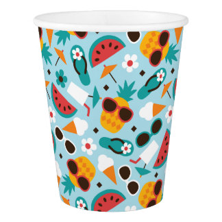 Tropical Vacation Seamless Pattern Paper Cup