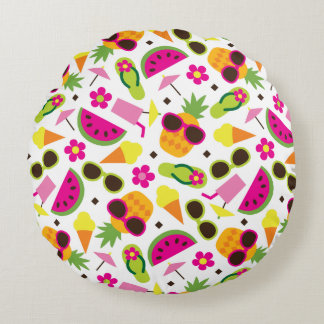 Tropical Vacation Seamless Pattern Round Pillow