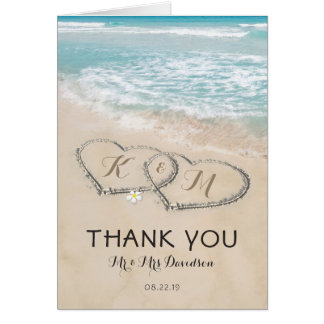 Tropical Vintage Beach Heart Shore Thank You Card