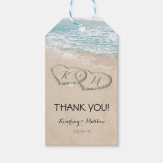 Tropical Vintage Beach Heart Shore Wedding Favor Gift Tags