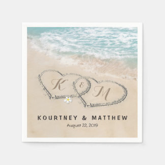Tropical Vintage Beach Heart Shore Wedding Paper Napkin