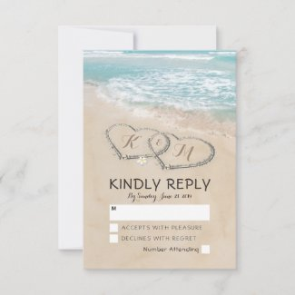 Tropical Vintage Beach Heart Shore Wedding RSVP