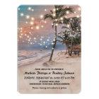 Tropical Vintage Beach Lights Wedding Card