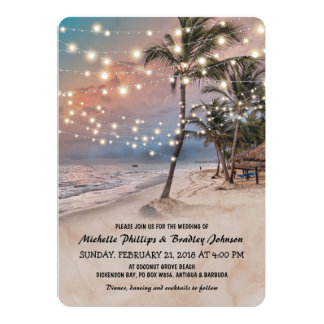 Tropical Vintage Beach Lights Wedding Card