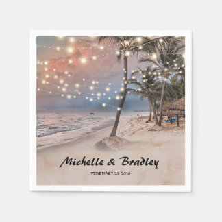 Tropical Vintage Beach Lights Wedding Disposable Napkins