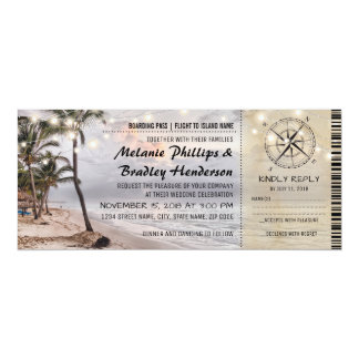 "Tropical Vintage Beach Wedding Tickets with RSVP 4"" X 9.25"" Invitation Card"