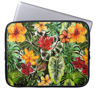 Tropical Vintage Exotic Jungle Flower Flowers Laptop Sleeve