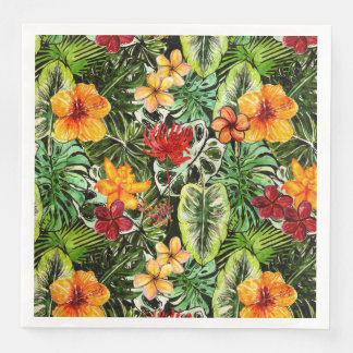 Tropical Vintage Exotic Jungle Flower Flowers Paper Napkin