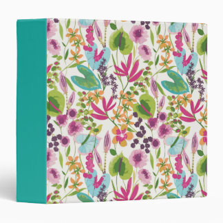 Tropical Vintage Floral Pattern 3 Ring Binders