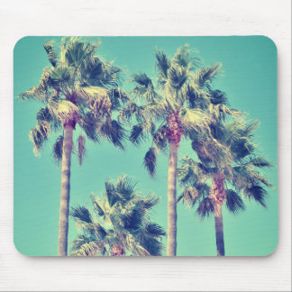 Tropical Vintage Palm Trees with a Teal Sky Mouse Pad