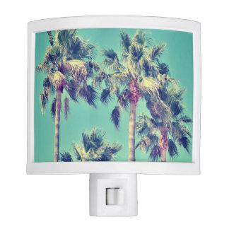 Tropical Vintage Palms against a Teal Sky Nite Lites