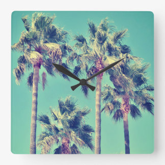 Tropical Vintage Palms against a Teal Sky Square Wall Clock