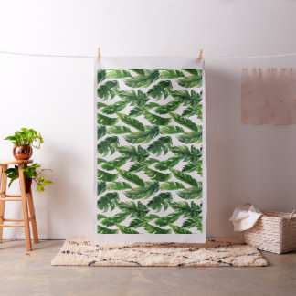 Tropical Watercolor Banana Leaves Pattern Fabric