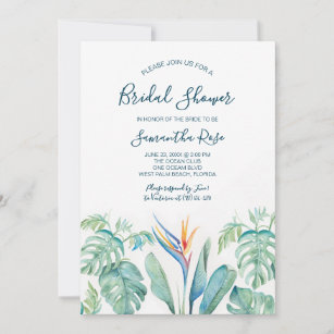 a19533683a58f Tropical Watercolor Botanical Bridal Shower Save The Date