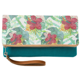 Tropical Watercolor Botanical Palm Leaf & Hibiscus Clutch