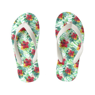 Tropical Watercolor Botanical Palm Leaf & Hibiscus Kid's Flip Flops