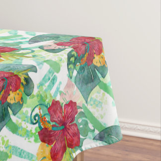 Tropical Watercolor Botanical Palm Leaf & Hibiscus Tablecloth
