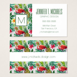 Tropical Watercolor Business Card
