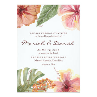 Tropical Watercolor Destination Wedding Invitation