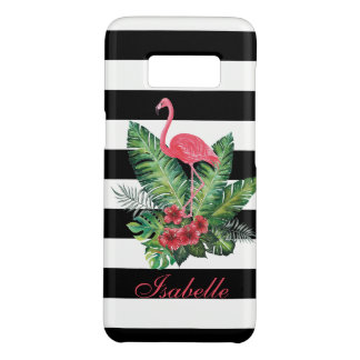Tropical Watercolor Flamingo and flowers stripes Case-Mate Samsung Galaxy S8 Case