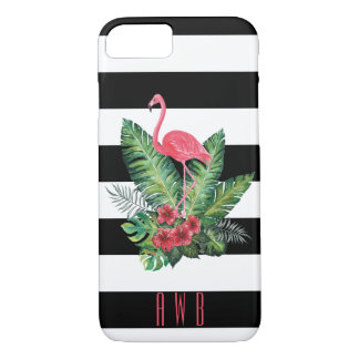 Tropical Watercolor Flamingo and flowers stripes iPhone 8/7 Case