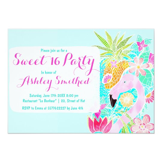 Tropical watercolor flamingo pineapple Sweet 16 Card