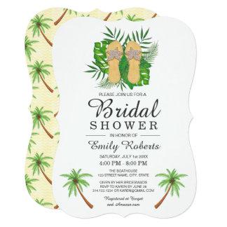 Tropical Watercolor Flip Flops Bridal Shower Card