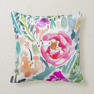 Tropical Watercolor Floral Throw Pillow