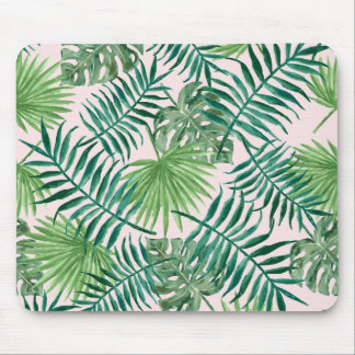 Tropical Watercolor Foliage on Blush Pink Mouse Pad