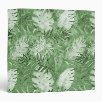 Tropical Watercolor Green Leaves Binders
