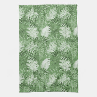 Tropical Watercolor Green Leaves Kitchen Towel
